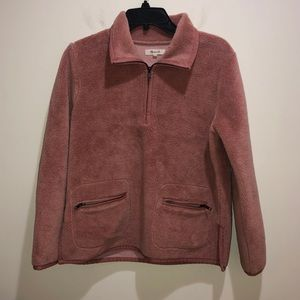Madewell Small Pink Fluffy Sherpa Fleece Popover